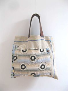 Antique Linen Bag, Reverse Applique, Leather, Ikat, Recycled, Ecru, Blue, Brown, Boho, Rustic