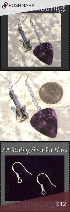 """Purple Pearlescent Guitar Pick & Guitar Earrings Never be without a pick again! These earrings are made with a purple pearlescent celluloid guitar pick & a Tibetan antique silver guitar charm. Silver-plated ear wires & rings. 3"""" & 2"""" long including ear wire*. Handcrafted by me.   *Can be replaced w/ Sterling Silver for add'l $1. Comment for custom listing.  Jewelry items priced firm as single purchase due to material cost & PM fees. Bundle special on guitar pick/choker/charm jewelry ONLY…"""