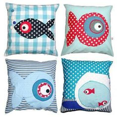 Applique simple fish shape on a cushion. Maybe a fish shaped cushion to complete the set. Cute Pillows, Diy Pillows, Throw Pillows, Fabric Crafts, Sewing Crafts, Sewing Projects, Handmade Pillows, Decorative Pillows, Patchwork Pillow
