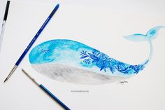 watercolor illustration of floral whale by inkstruck
