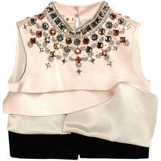 MarniCropped Embellished Silk-satin And Crepe Top (€1.350) ❤ liked on Polyvore featuring tops, shirts, crop top, marni, blush, embellished shirt, sparkly shirts, embellished tops, pink crop top and marni top