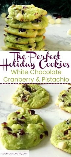 If you're looking for the perfect holiday cookie, this is it! White Chocolate, Cranberry and Pistachio come together to create a chewy, gooey cookie. This holiday cookie recipe is a great option for a cookie exchange, holiday party, Thanksgiving or Christmas.