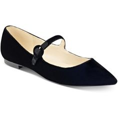Marc Fisher Stormy Pointed-Toe Flats ($69) ❤ liked on Polyvore featuring shoes, flats, black velvet, velvet flats, black strap flats, pointed toe flats, black velvet flats and flat shoes