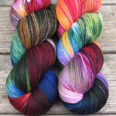 Bright, wild, and kaleidoscopic, Perfectly Wreckless is predominantly hot pink with bursts of blue, green, yellow, black, and cream, all in varying amounts. If you need more than one skein for your pr