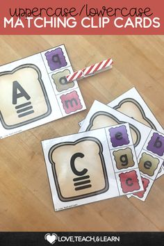 Uppercase and lowercase matching clip cards in a fun peanut butter and jelly theme! Preschool and kindergarten students will love these cute printable cards! Great to be used during literacy centers Prek Literacy, Teaching Phonics, Teaching Writing, Kindergarten Activities, Literacy Centers, Teaching Resources, Primary Teaching, Elementary Teaching, Preschool
