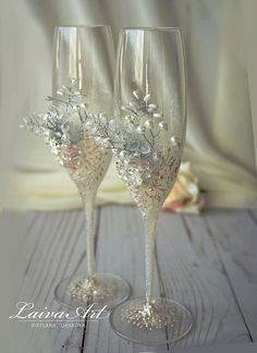 Wedding Champagne Flutes Wedding Champagne Glasses от LaivaArt