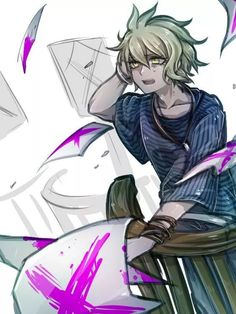 by riyuta on DeviantArt New Danganronpa V3, Danganronpa Characters, Super Danganronpa, Rantaro Amami, Lyric Art, Anime Guys, Demons, Cool Art, Attack On Titan