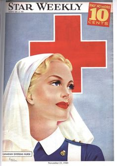 The Star Weekly was a Canadian newsmagazine published by the Toronto Star. During the Second World War, a colour illustration with a wartime theme appeared on the cover each week. Here's an image showing a Canadian Overseas Nurse. She looks like an angel, and that was how the wounded men saw them. For more covers: www.elinorflorence.com/blog/117839.