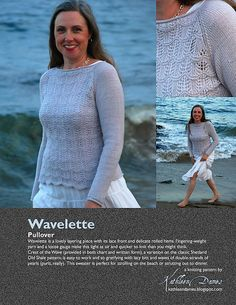 Wavelette is a lovely layering piece with its lace front and delicate rolled hems. Fingering-weight yarn and a loose gauge make this light as air and quicker to knit than you might think. Knitting Designs, Knitting Patterns, Rolled Hem, Finger Weights, Sock Yarn, Lace Knitting, How To Run Longer, Pullover, Long Sleeve