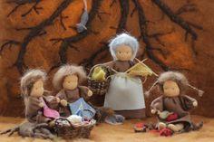 Mutter Erde und ihre Wurzelkinder Jahreszeitenfiguren Waldorf Crafts, Waldorf Toys, Crafts To Do, Felt Crafts, Spring Nature Table, Wool Dolls, Felt Fairy, Kindergarten Crafts, Tiny Dolls