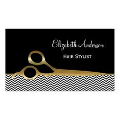 Hair salon business card and appointment card hair stylist elegant black and gold chevrons hair salon business card wajeb Images