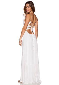 Indah Zera Ruffle Bottom Maxi Dress in White | REVOLVE