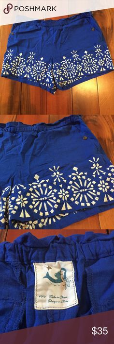Anthropologie Shorts NWOT Blue shorts with white embroidery. Never worn. 55% linen, 45% rayon Anthropologie Shorts