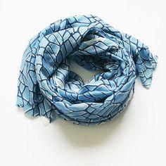 Silk Modal Large Scarf- Beach Wrap- Beach Sarong- Indigo Blue- Hand Block Print - SCARF- Rustic Loom #RusticLoom #scarf