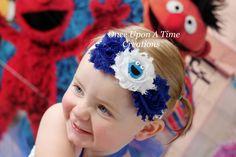 Cookie Monster Inspired Shabby Chic Flower por OnceUponATimeTuTus