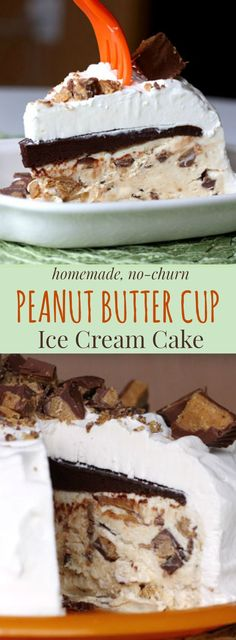 Homemade No-Churn Peanut Butter Cup Ice Cream Cake - this decadent dessert loaded with chocolate peanut butter is super easy with only seven ingredients. Ice Cream Treats, Ice Cream Desserts, Frozen Desserts, Ice Cream Recipes, Just Desserts, Delicious Desserts, Frozen Treats, Peanut Butter Ice Cream, Peanut Butter Desserts