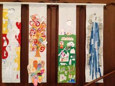 This is awesome. Each week the kids went through a line of the Lord's Prayer. They then made it into something visual which eventually came together into banners.I love that this was created in a service too