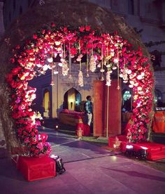 Chic And Stunning Acirc Curren Wedding Decor Design By Gurleen M Puri Wedding Ceremony Ideas, Wedding Gate, Wedding Hall Decorations, Marriage Decoration, Wedding Entrance, Wedding Mandap, Wedding Themes, Flower Decorations, Wedding Bride