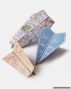 Paper-Airplane Cards | Martha Stewart Living - Fly a special card to Dad using one of our template patterns.