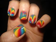 I LOVE THE SWIRLED LOOK! AND EACH NAIL IS DIFFERENT! :D