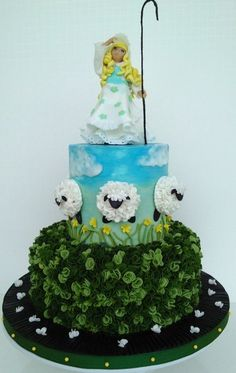 Little Bo Peep Baby Shower Cake Hand Sculpted Gum Paste Figure Pretty Cakes, Beautiful Cakes, Amazing Cakes, Sheep Cake, Little Bo Peep, Fancy Cookies, Novelty Cakes, Cake Decorating Tips, Sugar Art