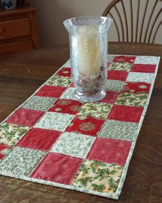 Quilted Christmas Table Runner Country by WarmandCozyQuilts, $45.00