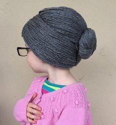 Granny Wig Yarn Wig Old Lady Hat Grandma Hair Bun Style by YumbabY