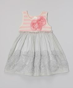 Look at this #zulilyfind! Pink Vanilla Gray & Pink Rosette Babydoll Dress - Toddler & Girls by Pink Vanilla #zulilyfinds