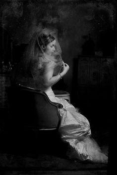 Black and white photo- beautiful vintage style photo of sitting bride - photo by South Africa based wedding photographer