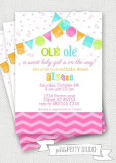 PARTY PRINTABLE  Fiesta Baby Shower or by PetitePartyStudio, $12.00 #baby #shower #invite