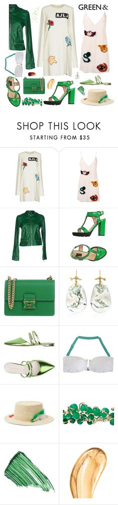 """""""Grass is greener..."""" by sue-mes ❤ liked on Polyvore featuring Au Jour Le Jour, Dolce&Gabbana, Pinko, Annette Ferdinandsen, Carlo Pazolini, Fleur of England, Sensi Studio, Rosantica, By Terry and Tom Ford"""
