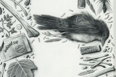 Beautifully rendered illustrated 'Higher Ground' text from Sverre Malling. Drawn completely in graphite pencil, the illustrated letters of Malling are composed of decay, garbage, insects, paraphernalia and all things heavy metal. Sverre was born in 1977 in Oslo, Norway.