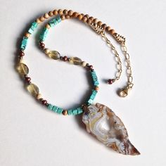 Drusy Agate Pendant Necklace with Genuine Turquoise and Faceted Citrine. Handcrafted with Gold Filled Beads & Clasp. Natural Gemstone