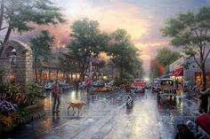 Thomas Kinkade - Carmel Sunset On Ocean Avenue.