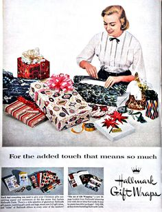 1950's Hallmark Christmas wrapping paper.