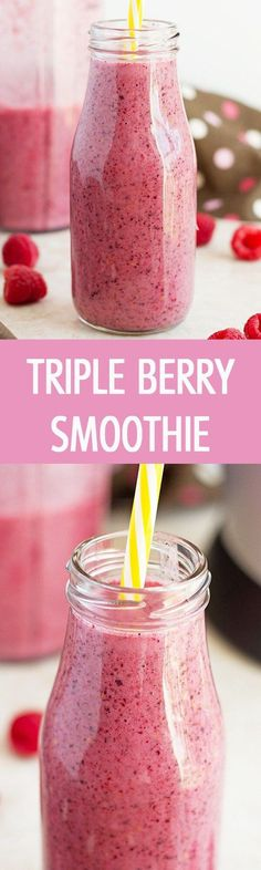 Refreshing healthy and sweet triple berry smoothie recipe made with only few ingredients This is great and yummy drink for snack or breakfast by I ilonaspassion Protein Smoothies, Smoothie Fruit, Coconut Milk Smoothie, Berry Smoothie Recipe, Yummy Smoothies, Breakfast Smoothies, Smoothie Drinks, Yummy Drinks, Healthy Drinks