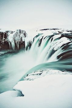 Frozen waterfalls in Iceland