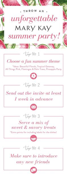Easy tips to throw an unforgettable Mary Kay summer party! Our favorite theme? All Things Pink! Mary Kay Facial, Selling Mary Kay, Mary Kay Party, Virtual Makeover, Mary Kay Ash, Mary Kay Cosmetics, Beauty Consultant, Party Invitations, Invitation Ideas