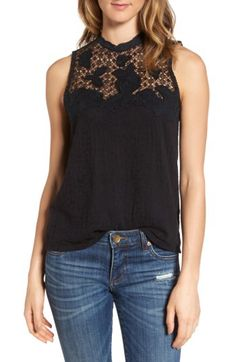 Lucky Brand Lucky Brand Lace Mock Neck available at #Nordstrom