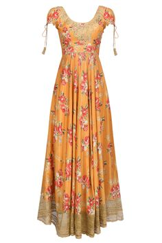 Orange floral embroidered anarkali kurta set available only at Pernia's Pop Up Shop. Half Saree Lehenga, Anarkali Dress, Anarkali Suits, Punjabi Suits, Punjabi Fashion, Indian Fashion, Stylish Dresses, Simple Dresses, Indian Dresses