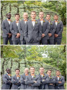 Groom and groomsmen with orange bow ties  http://www.JoPhotoOnline.com/blog