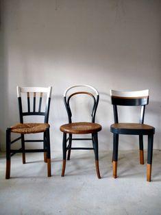 Set of 6 vintage mismatched vintage chairs / Cook Ensemble de 6 chaises anciennes dépareillées vintage / Cuisine / bistrot reloo… Set of 6 old mismatched vintage chairs / Kitchen / reloo bistro … - Decor, Interior, Painted Furniture, Upcycled Furniture, Furniture Chair, Home Decor, Painted Chairs, Furniture Makeover, Vintage Chairs