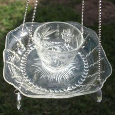 Vintage Depression Glass Columbia Bowl Cup Hanging Bird Feeder Glass repurposed