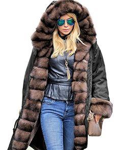 0ca1b90b9639 Roiii Women Luxury Winter Long Warm Thick Parka Cafe Faux Fur Jacket Hood  Coat Medium Black