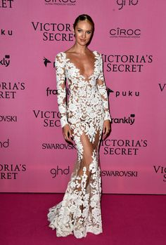 dontcrychickadee:  daily—celebs:  12/2/14 - Candice Swanepoel at the 2014 Victoria's Secret Fashion Show After Party in London.