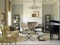 Living room with baby grand piano. Good ideas on how to balance the room. Piano Living Rooms, My Living Room, Living Spaces, Small Living, Dining Room, Elegant Living Room, Formal Living Rooms, Grand Piano Room, Transitional Living Rooms