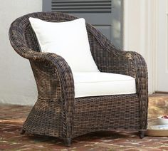 Torrey All-Weather Wicker Roll-Arm Chair | Pottery Barn .