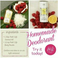Make homemade deodorant that's chemical free and smells great! Let the coconut set and harden in an empty deodorant container or reuse old scrub/mask tubs! https://www.perfectlyposh.com/12720/posh-life/posh-life-body-powder