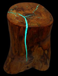 Stump Table, Glow in the Dark Resin, Reclaimed Wood Table, Rustic Side Table, Log Side Table, Rustic Furniture, Reclaim by WoodzyShop on Etsy https://www.etsy.com/listing/400818757/stump-table-glow-in-the-dark-resin