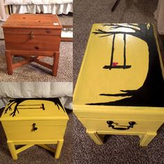 Before and after my thrifted table/trunk DIY. I decided to go with yellow and black. I painted the top with acrylic art for the finish look. I love how DIY can turn boring furnitures into something fun.